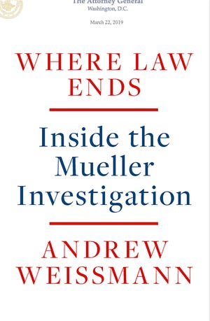 """This photo provided by Random House shows the cover of Andrew Weissmann's """"Where Law Ends: Inside the Mueller Investigation."""""""