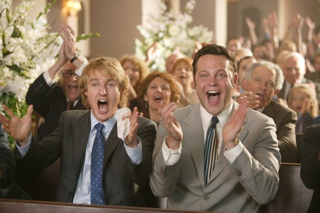 "John Beckwith (Owen Wilson) and Jeremy Grey (Vince Vaughn) weren't invited to this wedding, but they celebrated anyway in 2005's ""Wedding Crashers."""