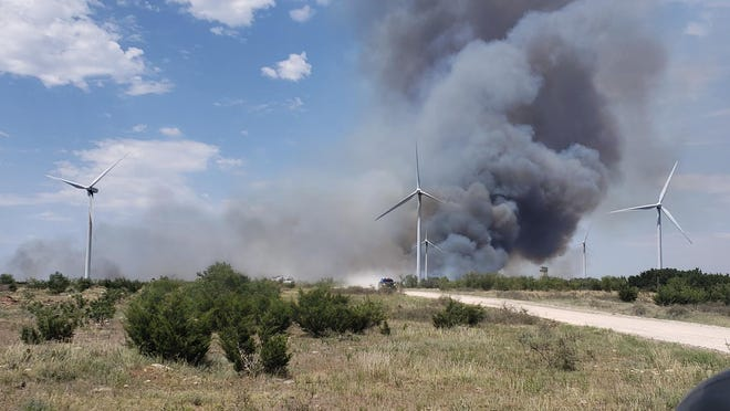 The Taylor County Sheriff's Department reported around a wind turbine and grass fire in the 5100 block of FM 89 just after 3 p.m.