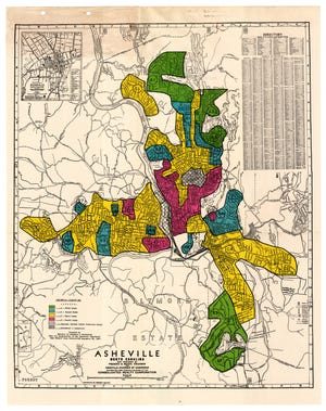 """A 1937 """"redlining"""" map by the Home Owners' Loan Corporation that designated Black neighborhoods in Asheville, N.C., as """"hazardous,"""" making it difficult to get loans in those areas."""