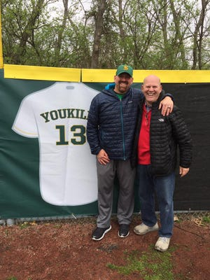 Kevin and Mike Youkilis at Kevin's jersey retirement at Sycamore High School in 2017.