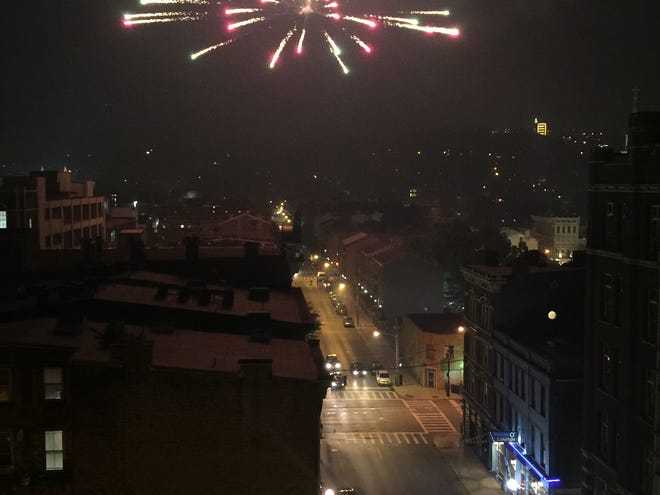 A view of fireworks in Over-the-Rhine.