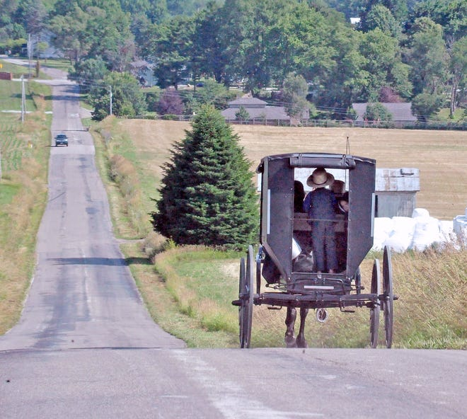 This Amish buggy loaded with passengers makes its way down a hill near Apple Creek.
