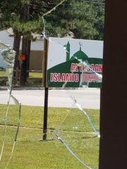 Broken window at Al Ihsaan Islamic Center, also known as Ideal Islamic Center, on 10 Mile Road in Warren. Leaders say the mosque was vandalized Friday, July 10, 2020. Led by immigrants from Bangladesh, the mosque was formerly a Lutheran church and school.