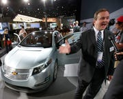 Tony Posawatz talks to media after the 2011 Chevrolet Volt is introduced at the Los Angeles International Auto Show in this December 2, 2009, file photo.