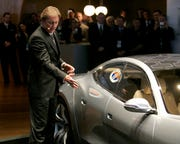 Henrick Fisker, CEO of Fisker, introduces the Fisker Karma at the North American International Autoshow in this January 14, 2008, file photo.