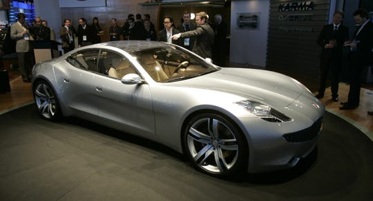 The Fisker Karma is shown at the North American International Auto Show in Detroit in this Jan. 14, 2008, file photo.