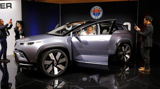 The Fisker Ocean electric SUV is on display at the Fisker booth during the CES tech show, Tuesday, Jan. 7, 2020, in Las Vegas.
