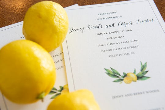 Jenny Woods and Cooper Lemons' wedding invitation.