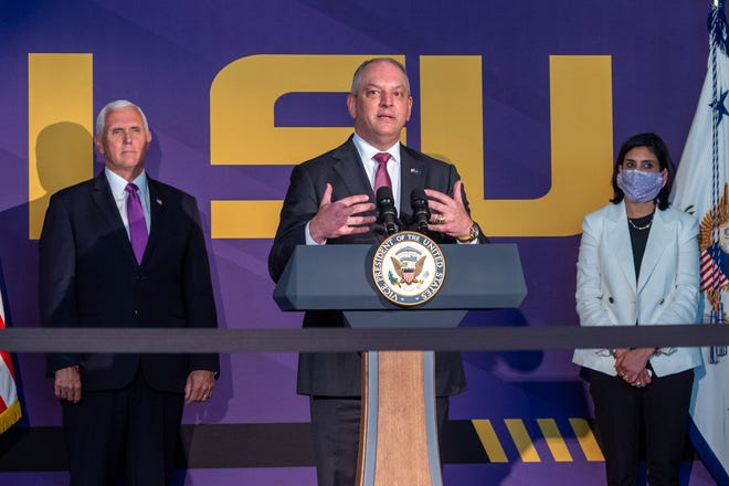 Louisiana Governor John Bel Edwards speaking at Press Conference where Vice President Pence participated in a roundtable discussion at LSU's Tiger Stadium with higher education leaders focusing on fall reopening plans and university sports programs. Tuesday, July 14, 2020.