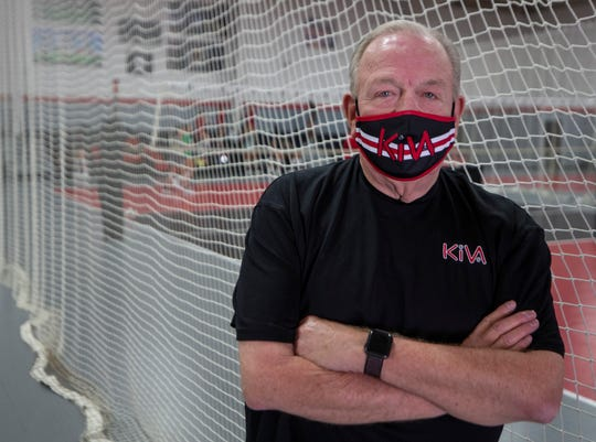 Older coaches are taking precautions to avoid getting the coronavirus while still preparing their teams for the start of the school year and competition. Assumption High School volleyball coach Ron Kordes. July 14, 2020