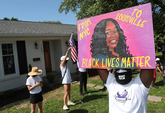 Around 200 people -- organized by the group Until Freedom -- marched from Ballard High School up Herr Lane to Attorney General Cameron's neighborhood, chanting Breonna Taylor's name as well as calling for justice for her killing by LMPD. July 14, 2020