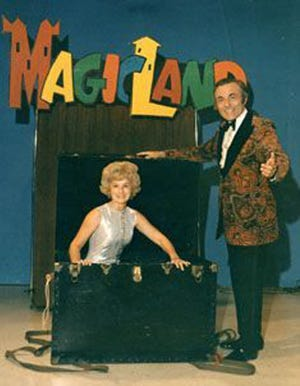 """Virginia and Dick Williams on the set of """"Magicland."""""""