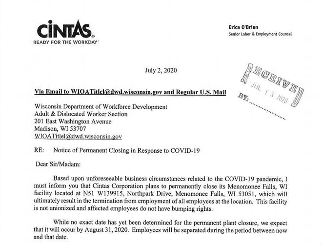 Cintas Corp. will permanently close its Menomonee Falls location at N51 W13915 Northpark Drive, the company said in a letter to the Wisconsin Department of Workforce Development.