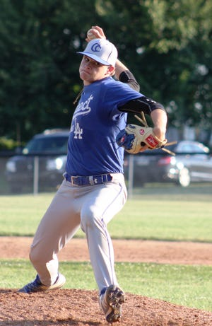 Dylan Beard delivers a pitch for Cedar Crest during Monday night's contest vs. Lebanon.