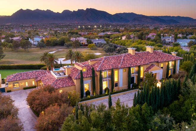 An aerial view of the estate at 1717 Enclave Court.