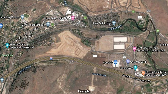 An overhead map of the location of the Meridian 120 development in Verdi west of Reno.
