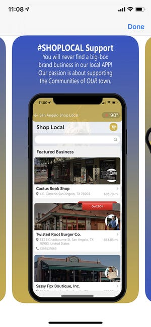 San Angelo Shop Local App screen grab.