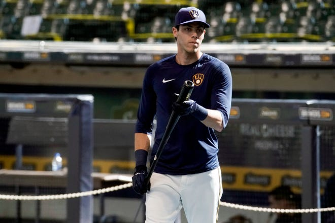 Christian Yelich waits to hit during a recent practice at Miller Park in Milwaukee.