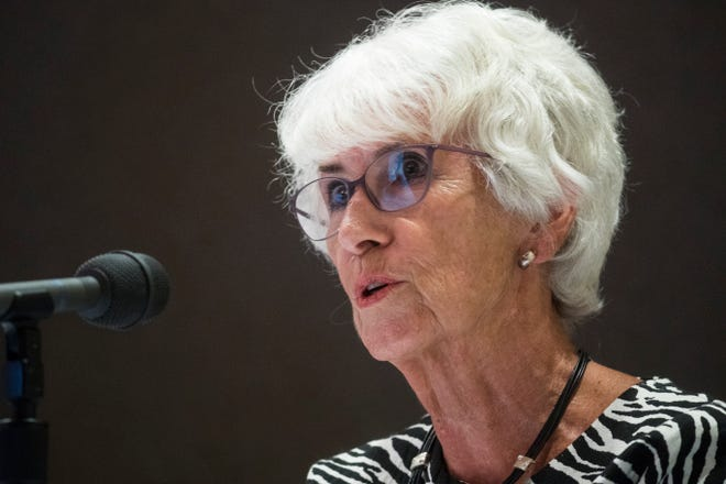 Delaware Secretary of Education Susan Bunting speaks to the media during a briefing on the current status of the coronavirus pandemic in Delaware Tuesday, July 14, 2020, at the Carvel State Building in Wilmington.