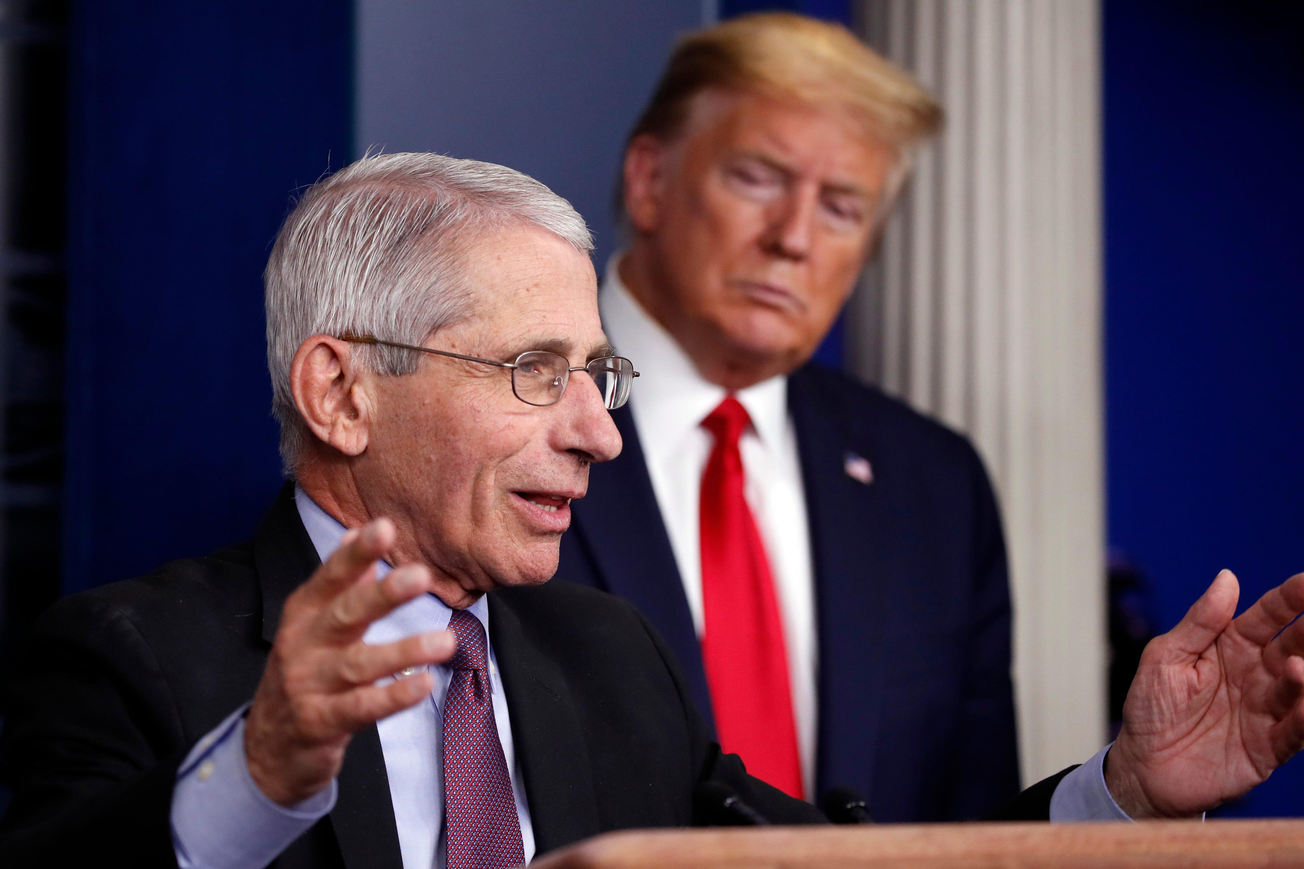 Ông Trump và ông Fauci.