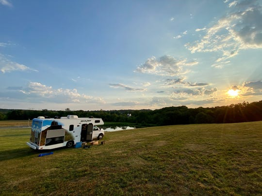 A look at our RV that was parked at a Harvest Host in Pennsylvania.
