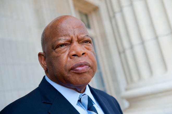 Rep. John Lewis, D-Ga., poses in his office in the Cannon Building in Washington, D.C., on July 20, 2012. Lewis, a former Freedom Rider and the last surviving major organizer of the March on Washington, died Friday.