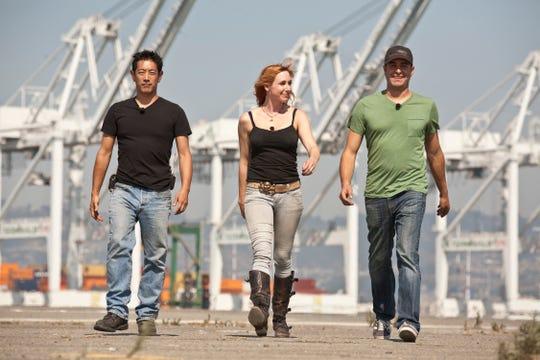 """Mythbusters"" hosts (L-R) Grant Imahara, Kari Byron and Tori Belluci in 2011."