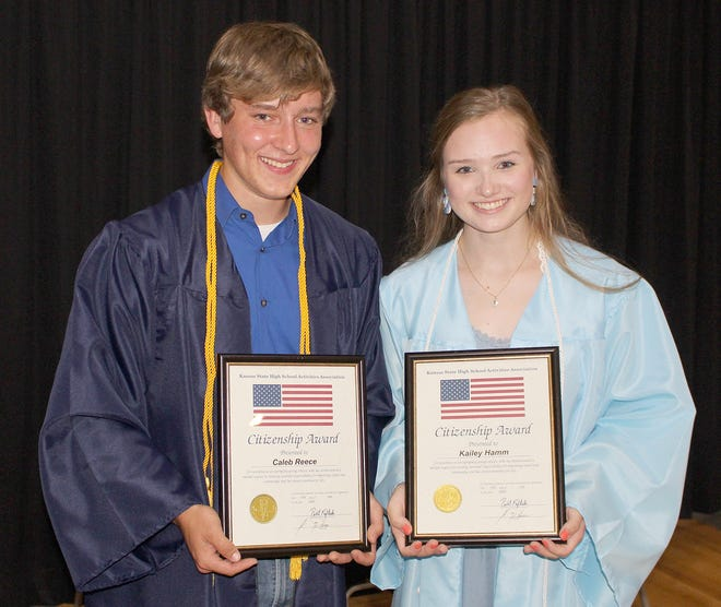 Skyline High School 2020 graduates Caleb Reece and Kailey Hamm received Citizenship Awards at the commencement ceremony held Saturday in Pratt. Graduation and award presentations has been postponed from earlier in the school year because of the coronavirus pandemic.