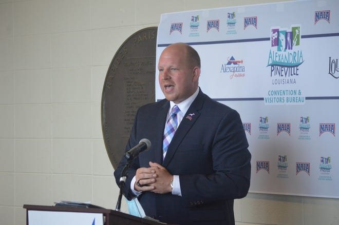 LSU of Alexandria athletic director Adam Jonson speaks with the public after the NAIA named the Rapides Coliseum as a opening round host for the NAIA men's and women's basketball tournaments.