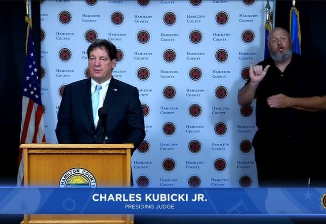 Hamilton County Common Pleas Judge Charles Kubicki, the court's presiding and administrative judge, speaks at a news conference earlier this year. On Friday, Jury trials in the county were once again postponed because of the coronavirus pandemic.