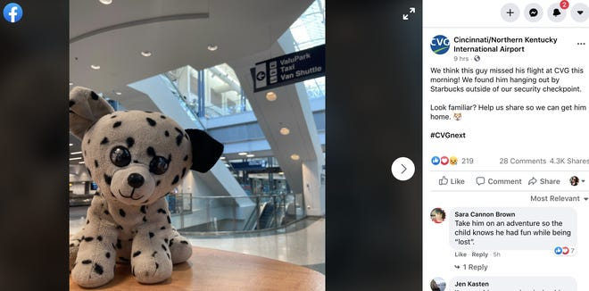 The Cincinnati/Northern Kentucky International Airport was searching for the owner of this stuffed puppy.
