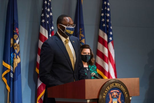 Lieutenant Governor Garlin Gilchrist II during news conference in Lansing on Wednesday, July 15, 2020.