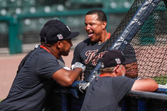 Detroit Tigers' Miguel Cabrera goofs around during batting practice summer camp at Comerica Park in Detroit, Wednesday, July 15, 2020.