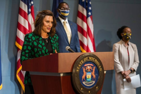 Governor Gretchen Whitmer during a news conference in Lansing on Wednesday, July 15, 2020.