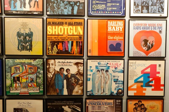 Closeup of album covers displayed during a tour of the Motown Museum, Wednesday, July 15, 2020.