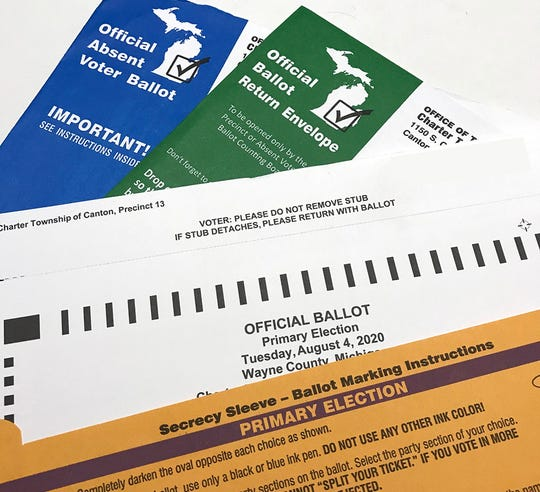 An absentee voting ballot for the Charter Township of Canton in Wayne County is shown.