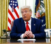 President Donald Trump speaks during a law enforcement briefing in the Oval Office of the White House, Wednesday, July 15, 2020, in Washington.