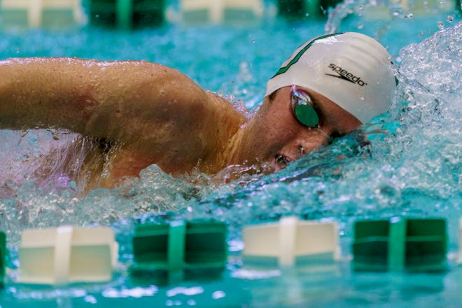Bishop Verot graduate Stas Van Genderen swims in a meet for Dartmouth. The school announced that they would be cutting five sports, and men's swimming was one of them.