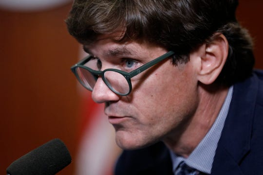 Mississippi State Health Officer Dr. Thomas Dobbs expresses concern at the public's lack of mask-wearing at Gov. Tate Reeves' COVID-19 press briefing in Jackson, Miss., on July 8.