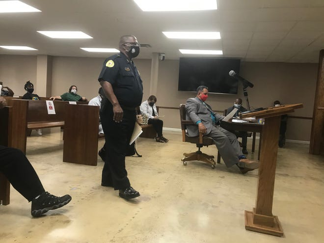 Opelousas Police Chief Martin McLendon speaks at the Opelousas Board of Alderman on July 14, 2020, regarding the resignation of Sgt. Tyron Andrepont, who is accused of beating a man while he was restrained in a hospital bed.