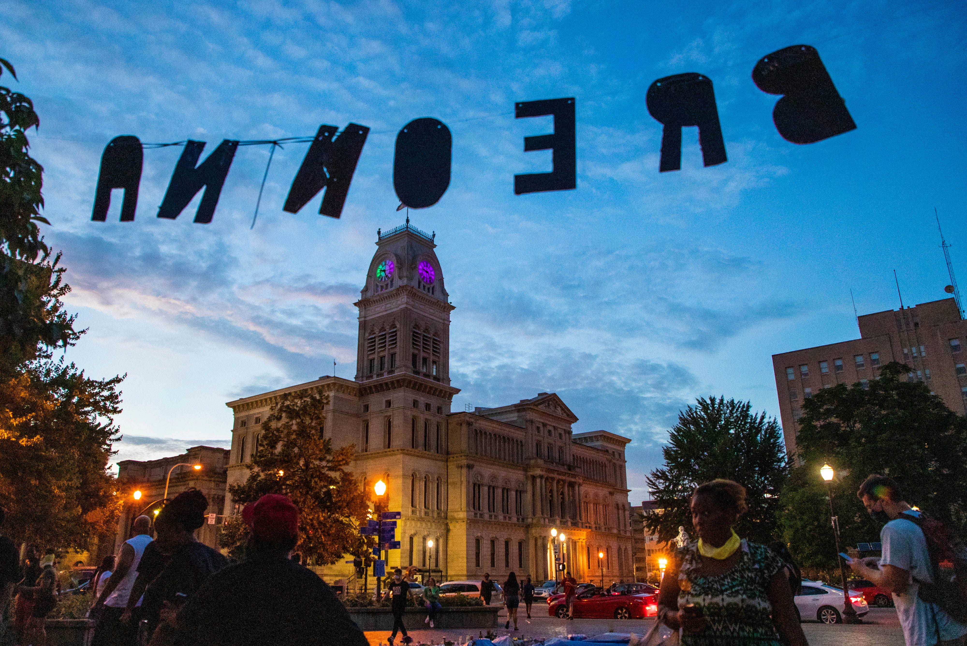 Letters spelling out Breonna hang up in Jefferson Square Park. July 9, 2020
