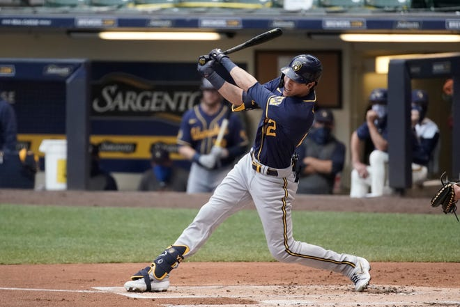 The Brewers' Christian Yelich is knocking off the rust in the team's Blue vs. Gold Series.