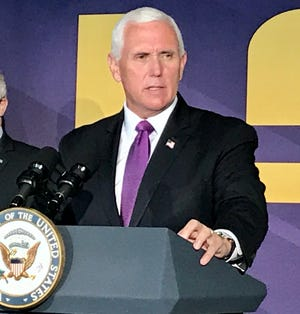 Vice President Mike Pence speaks during a coronavirus press conference at LSU's Tiger Stadium July 14, 2020.