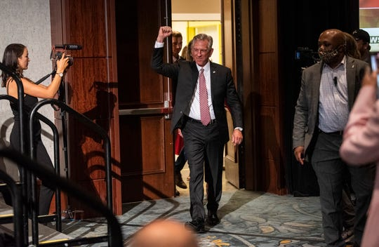 U.S. Senate candidate Tommy Tuberville celebrates after being announced the winner of the primary run-off election during his election night event at the Renaissance Hotel in Montgomery, Ala., on Tuesday, July 14, 2020.