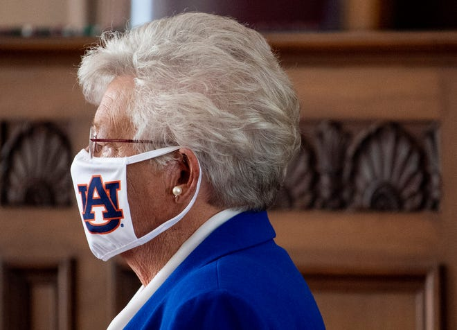 Alabama Gov. Kay Ivey arrives at the Capitol on July 15 to announce a statewide mask order.