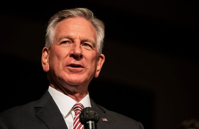 U.S. Senate candidate Tommy Tuberville speaks after being announced the winner of the primary run-off election during his election night event at the Renaissance Hotel in Montgomery, Ala., on Tuesday, July 14, 2020.