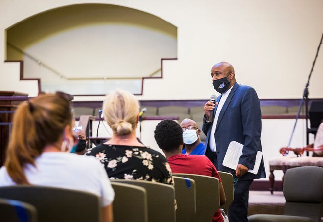 NAACP branch president Joseph Anderson speaks during a Mobilize Muncie Community Forum at Union Missionary Baptist Church Tuesday, July 14, 2020.