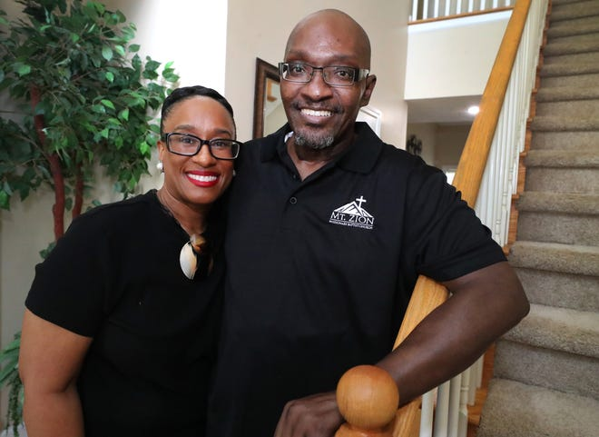 The Rev. Jerry D. Marable, the pastor of Mt. Zion Missionary Baptist Church in Murfreesboro, with his wife Courtney Marable, who stayed by her husband's side for months when he was sick in the hospital battling pancreatitis.