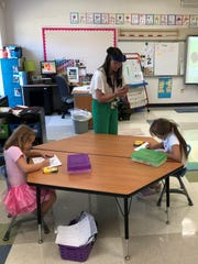 Legend Elementary first grade teacher Elizabeth Abbott takes pictures of students' art work at Legend on Tuesday to post on Seesaw , during the Kindergarten Readiness Academy for Newark City Schools.